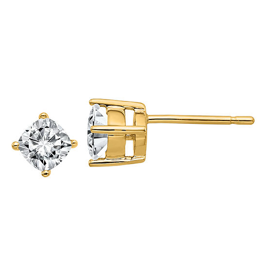 5 8 Ct Tw White Moissanite 14k Gold 45mm Square Stud Earrings