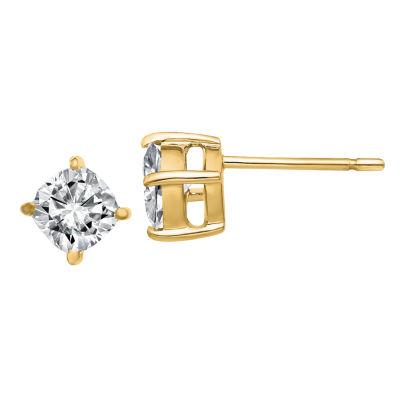 7/8 CT. T.W. White Moissanite 14K Gold 5mm Square Stud Earrings