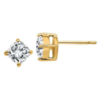 1 1/8 Ct. T.W. White Moissanite 14K Gold 5.5mm Square Stud Earrings