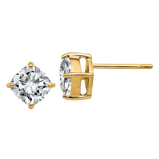 1 1/2 CT. T.W. White Moissanite 14K Gold 6mm Square Stud Earrings