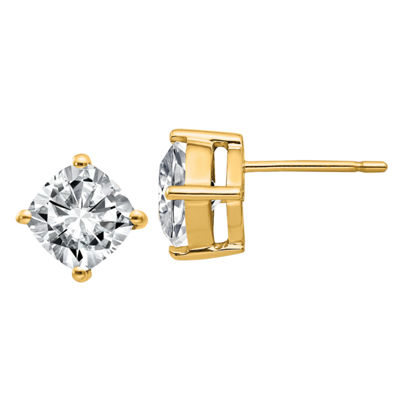 2 1/3 CT. T.W. White Moissanite 14K Gold 7mm Square Stud Earrings