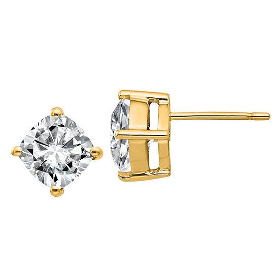 T W White Moissanite 14k Gold 7mm Square Stud Earrings