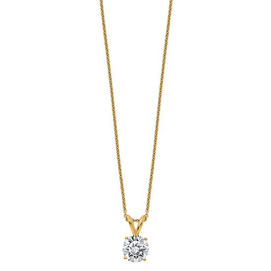 Womens 1 1/2 CT. T.W. White Moissanite 14K Gold Round Pendant Necklace Set