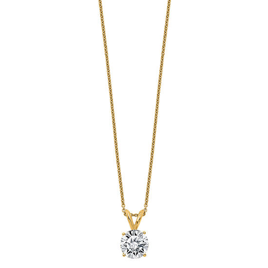 Womens 1 3/4 CT. T.W. White Moissanite 14K Gold Round Pendant Necklace Set