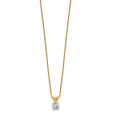 Womens 1/5 CT. T.W. White Moissanite 14K Gold Round Pendant Necklace Set