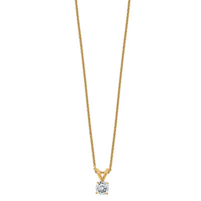 Womens 3/8 CT. T.W. White Moissanite 14K Gold Round Pendant Necklace Set