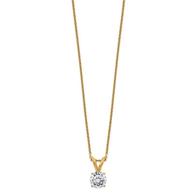 Womens 1 CT. T.W. White Moissanite 14K Gold Round Pendant Necklace Set