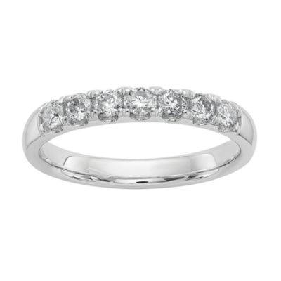 Womens 4mm 3/4 CT. T.W. White Moissanite 14K White Gold Round Band
