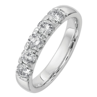 Womens 4.5mm 1 CT. T.W. White Moissanite 14K White Gold Round Band