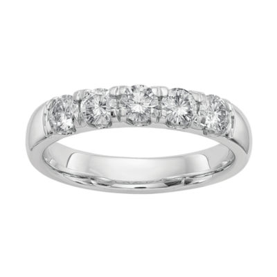 Womens 3mm 1 1/2 CT. T.W. White Moissanite 14K White Gold Round Band