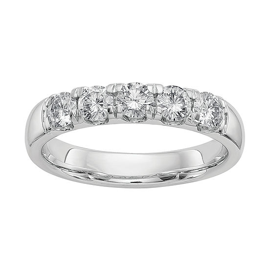 Womens 4mm 1 1/2 CT. T.W. White Moissanite 14K White Gold Round Band
