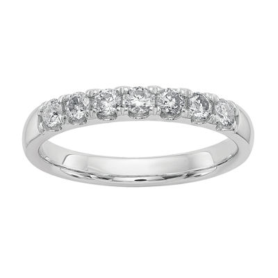 Womens 5mm 7/8 CT. T.W. White Moissanite 14K White Gold Round Band
