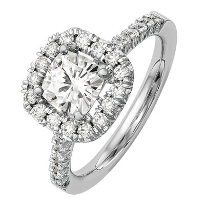 Womens 1 3/8 CT. T.W. White Moissanite 14K White Gold Round Engagement Ring