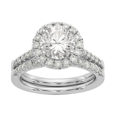 Womens 1 5/8 CT. T.W. White Moissanite 14K White Gold Round Bridal Set