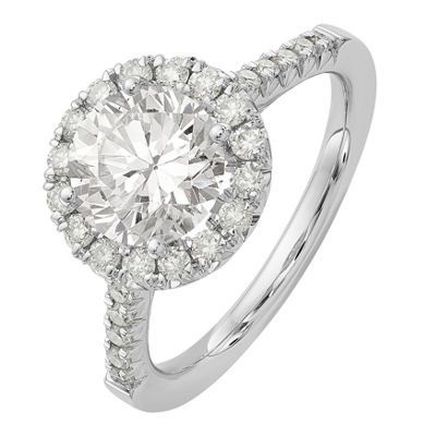 Womens 2 1/5 Ct. T.W. Round White Moissanite 14K Gold Engagement Ring
