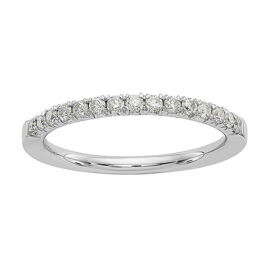 Womens 2mm 1/3 CT. T.W. White Moissanite 14K White Gold Round Wedding Band