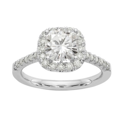 Womens 2 CT. T.W. White Moissanite 14K White Gold Round Engagement Ring