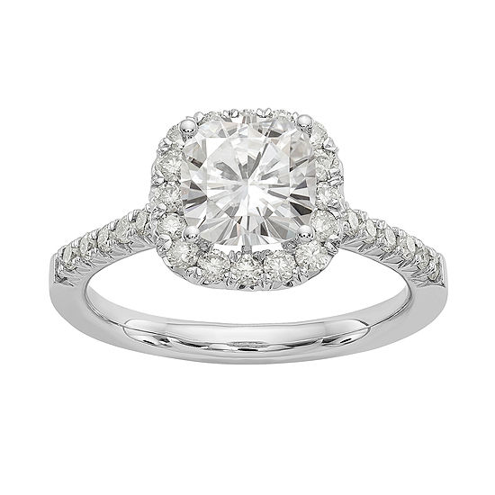 Womens 2 CT. T.W. White Moissanite 14K White Gold Round Engagement Ring