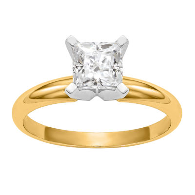 Womens 3/4 CT. T.W. White Moissanite 14K Gold Round Engagement Ring