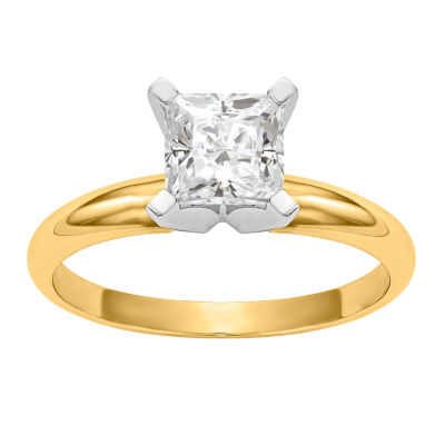 Womens 1 1/5 CT. T.W. Princess White Moissanite 14K Gold Engagement Ring