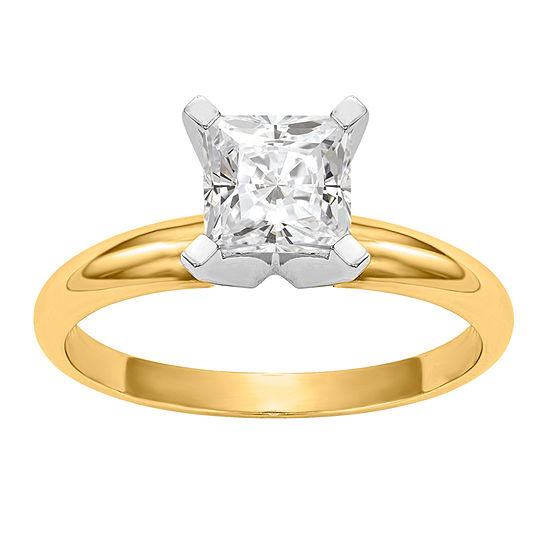 Womens 1 1 5 Ct Tw White Moissanite 14k Gold Round Solitaire Engagement Ring