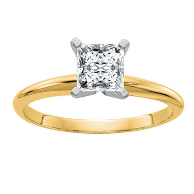 Womens 7/8 CT. T.W. White Moissanite 14K Gold Round Engagement Ring