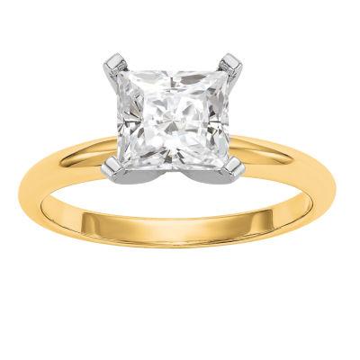 Womens 1 7/8 Ct. T.W. Princess White Moissanite 14K Gold Engagement Ring
