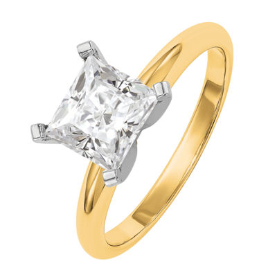 Womens 1 1/2 CT. T.W. Princess White Moissanite 14K Gold Engagement Ring