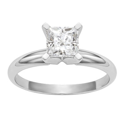 Womens 1/2 CT. T.W. White Moissanite 14K White Gold Round Engagement Ring
