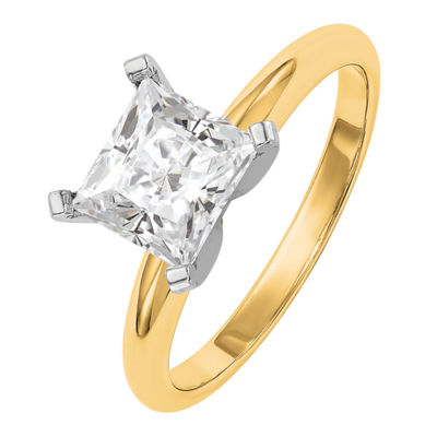 Womens 2 1/4 CT. T.W. White Moissanite 14K Gold Round Engagement Ring