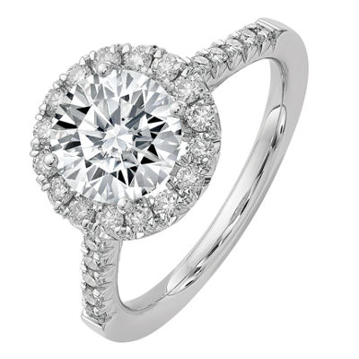 Womens 1 1/4 CT. T.W. White Moissanite 14K White Gold Round Engagement Ring