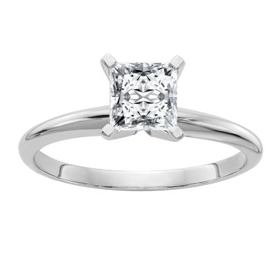 Womens 7/8 CT. T.W. White Moissanite 14K White Gold Round Solitaire Engagement Ring
