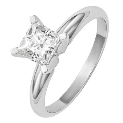 Womens 3/4 CT. T.W. Princess White Moissanite 14K Gold Engagement Ring