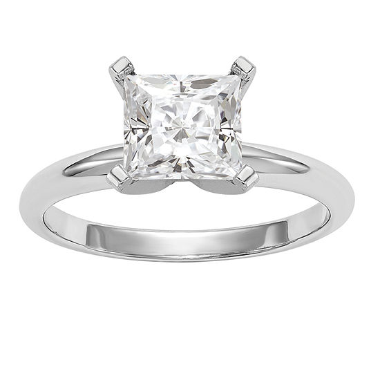 Womens 1 1 2 Ct Tw White Moissanite 14k White Gold Round Solitaire Engagement Ring