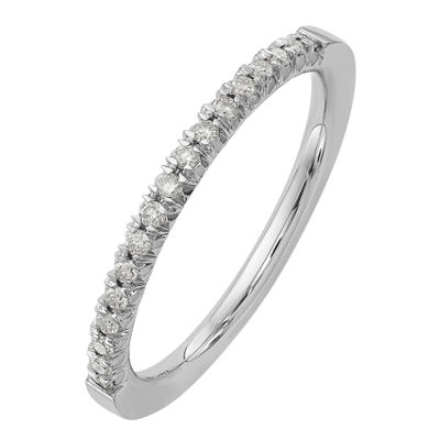 Womens 2mm 1/6 CT. T.W. White Moissanite 14K White Gold Round Wedding Band