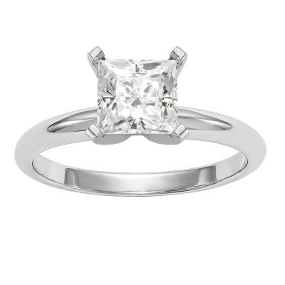 Womens 2 1/4 CT. T.W. White Moissanite 14K White Gold Round Engagement Ring