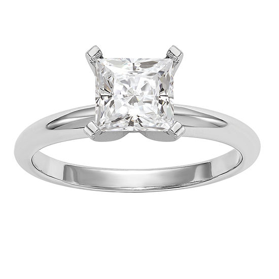 Womens 2 1/4 CT. T.W. White Moissanite 14K White Gold Round Solitaire Engagement Ring