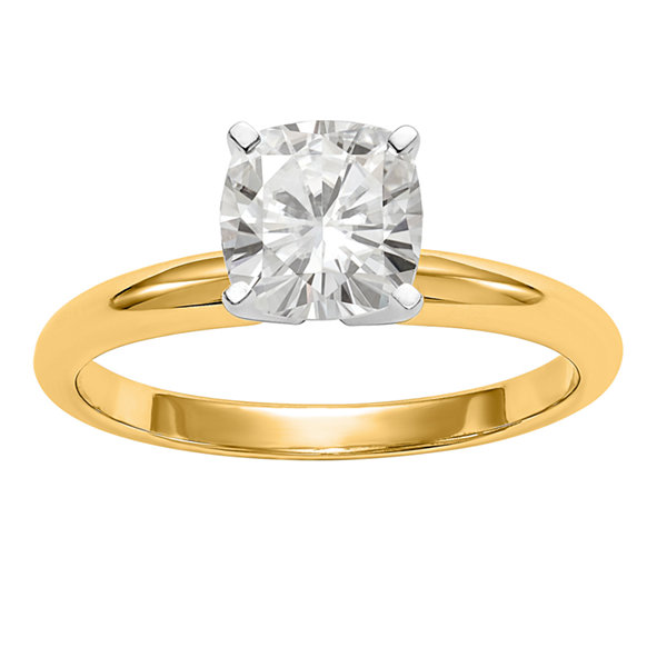Womens 3/4 CT. T.W. Cushion White Moissanite 14K Gold Engagement Ring