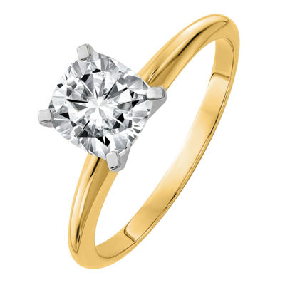 Womens 1 CT. T.W. White Moissanite 14K Gold Round Solitaire Engagement Ring