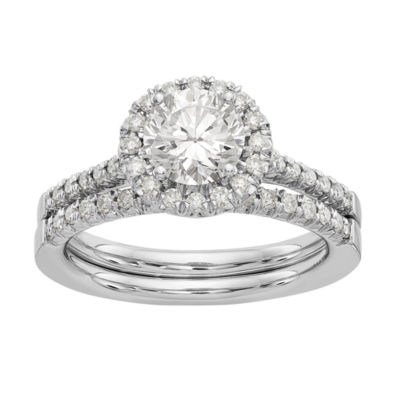 Womens 1 3/8 CT. T.W. White Moissanite 14K White Gold Round Bridal Set