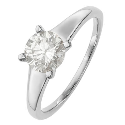 Womens 4MM 1 CT. T.W. White Moissanite Sterling Silver Round Solitaire Band