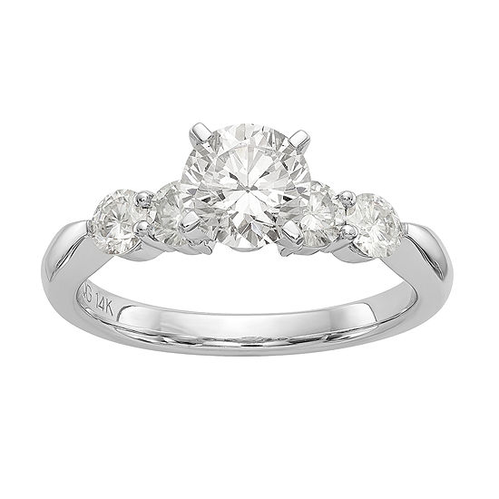 Womens 1 1/2 CT. T.W. White Moissanite 14K White Gold Round Engagement Ring
