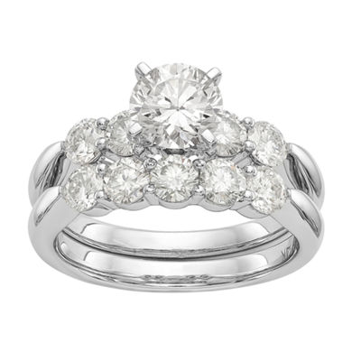Womens 2 1/4 CT. T.W. White Moissanite 14K White Gold Round Bridal Set