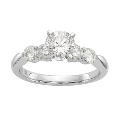 Womens 2 1/3 CT. T.W. White Moissanite 14K White Gold Round Engagement Ring