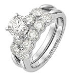 Womens 3 1/2 CT. T.W White Moissanite 14K White Gold Round Bridal Set