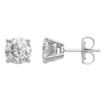 1 7/8 Ct. T.W. White Moissanite 14K White Gold 6.5mm Round Stud Earrings