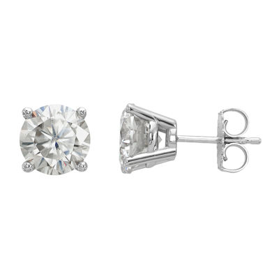2 3/4 CT. T.W. White Moissanite 14K White Gold 7.5mm Round Stud Earrings