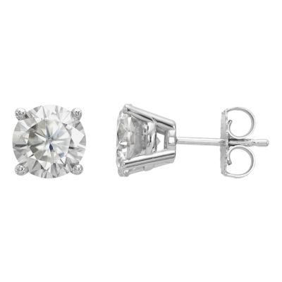 2 1/3 CT. T.W. White Moissanite 14K White Gold 7mm Round Stud Earrings
