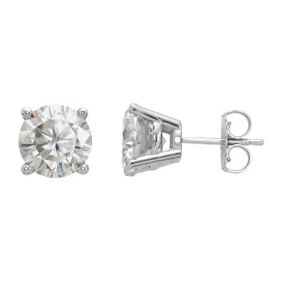 3 1/2 CT. T.W White Moissanite 14K White Gold 8mm Round Stud Earrings