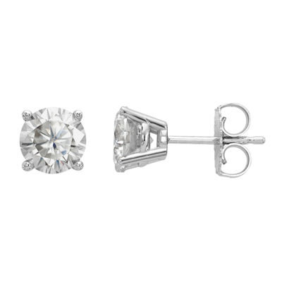 1 1/2 CT. T.W. White Moissanite 14K White Gold 6mm Round Stud Earrings